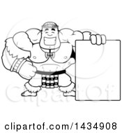 Clipart Of A Cartoon Black And White Lineart Buff Muscular Zulu Warrior With A Blank Sign Royalty Free Vector Illustration