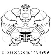 Clipart Of A Cartoon Black And White Lineart Happy Buff Muscular Zulu Warrior Royalty Free Vector Illustration