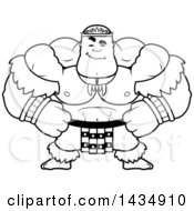 Clipart Of A Cartoon Black And White Lineart Smug Buff Muscular Zulu Warrior Royalty Free Vector Illustration