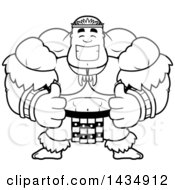 Clipart Of A Cartoon Black And White Lineart Buff Muscular Zulu Warrior Giving Two Thumbs Up Royalty Free Vector Illustration