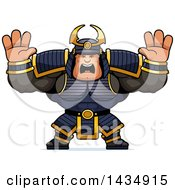 Clipart Of A Cartoon Scared Buff Muscular Samurai Warrior Holding His Hands Up Royalty Free Vector Illustration by Cory Thoman