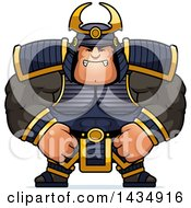 Clipart Of A Cartoon Mad Buff Muscular Samurai Warrior Royalty Free Vector Illustration by Cory Thoman