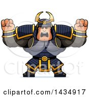 Clipart Of A Cartoon Buff Muscular Samurai Warrior Holding His Fists Up In Balls Of Rage Royalty Free Vector Illustration by Cory Thoman