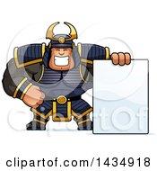 Cartoon Buff Muscular Samurai Warrior With A Blank Sign