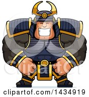 Clipart Of A Cartoon Happy Buff Muscular Samurai Warrior Royalty Free Vector Illustration