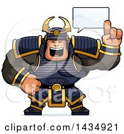 Clipart Of A Cartoon Buff Muscular Samurai Warrior Holding Up A Finger And Talking Royalty Free Vector Illustration by Cory Thoman