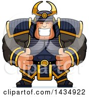 Clipart Of A Cartoon Buff Muscular Samurai Warrior Giving Two Thumbs Up Royalty Free Vector Illustration by Cory Thoman