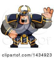 Clipart Of A Cartoon Buff Muscular Samurai Warrior Waving Royalty Free Vector Illustration by Cory Thoman