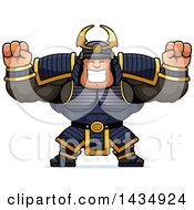 Clipart Of A Cartoon Cheering Buff Muscular Samurai Warrior Royalty Free Vector Illustration by Cory Thoman