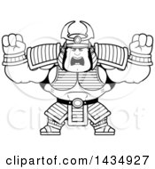 Cartoon Black And White Lineart Buff Muscular Samurai Warrior Holding His Fists Up In Balls Of Rage