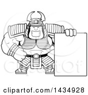 Clipart Of A Cartoon Black And White Lineart Buff Muscular Samurai Warrior With A Blank Sign Royalty Free Vector Illustration