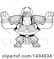 Clipart Of A Cartoon Black And White Lineart Cheering Buff Muscular Samurai Warrior Royalty Free Vector Illustration by Cory Thoman