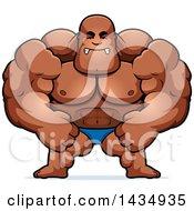 Cartoon Mad Buff Muscular Black Bodybuilder Flexing In A Posing Trunk