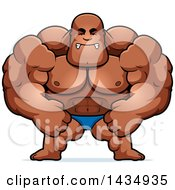 Clipart Of A Cartoon Mad Buff Muscular Black Bodybuilder Flexing In A Posing Trunk Royalty Free Vector Illustration