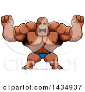 Clipart Of A Cartoon Buff Muscular Black Bodybuilder In A Posing Trunk Holding His Fists Up In Balls Of Rage Royalty Free Vector Illustration