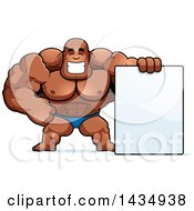 Clipart Of A Cartoon Buff Muscular Black Bodybuilder In A Posing Trunk With A Blank Sign Royalty Free Vector Illustration