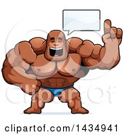 Clipart Of A Cartoon Buff Muscular Black Bodybuilder In A Posing Trunk Holding Up A Finger And Talking Royalty Free Vector Illustration