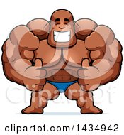 Clipart Of A Cartoon Buff Muscular Black Bodybuilder In A Posing Trunk Giving Two Thumbs Up Royalty Free Vector Illustration