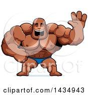 Clipart Of A Cartoon Buff Muscular Black Bodybuilder In A Posing Trunk Waving Royalty Free Vector Illustration
