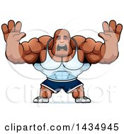 Clipart Of A Cartoon Scared Buff Muscular Black Bodybuilder Holding His Hands Up Royalty Free Vector Illustration