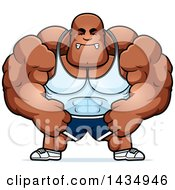 Clipart Of A Cartoon Mad Buff Muscular Black Bodybuilder Flexing Royalty Free Vector Illustration