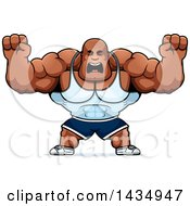 Clipart Of A Cartoon Buff Muscular Black Bodybuilder Holding His Fists Up In Balls Of Rage Royalty Free Vector Illustration