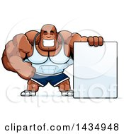 Clipart Of A Cartoon Buff Muscular Black Bodybuilder With A Blank Sign Royalty Free Vector Illustration