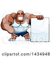 Cartoon Buff Muscular Black Bodybuilder With A Blank Sign