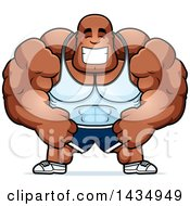 Clipart Of A Cartoon Happy Buff Muscular Black Bodybuilder Royalty Free Vector Illustration