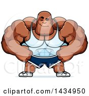 Clipart Of A Cartoon Smug Buff Muscular Black Bodybuilder Royalty Free Vector Illustration by Cory Thoman
