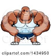 Clipart Of A Cartoon Smug Buff Muscular Black Bodybuilder Royalty Free Vector Illustration