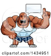 Clipart Of A Cartoon Buff Muscular Black Bodybuilder Holding Up A Finger And Talking Royalty Free Vector Illustration