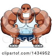 Clipart Of A Cartoon Buff Muscular Black Bodybuilder Giving Two Thumbs Up Royalty Free Vector Illustration