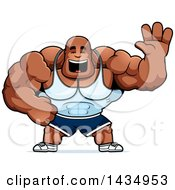 Clipart Of A Cartoon Buff Muscular Black Bodybuilder Waving Royalty Free Vector Illustration by Cory Thoman