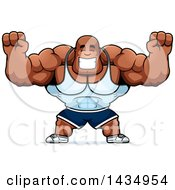 Clipart Of A Cartoon Cheering Buff Muscular Black Bodybuilder Royalty Free Vector Illustration by Cory Thoman