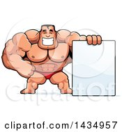 Clipart Of A Cartoon Buff Muscular Beefcake Bodybuilder Competitor With A Blank Sign Royalty Free Vector Illustration by Cory Thoman