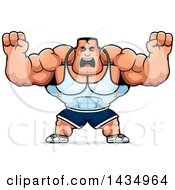 Clipart Of A Cartoon Buff Beefcake Muscular Bodybuilder Holding Up Fists In Balls Of Rage Royalty Free Vector Illustration by Cory Thoman