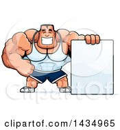 Clipart Of A Cartoon Buff Beefcake Muscular Bodybuilder With A Blank Sign Royalty Free Vector Illustration by Cory Thoman