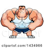Clipart Of A Cartoon Smug Buff Beefcake Muscular Bodybuilder Royalty Free Vector Illustration by Cory Thoman