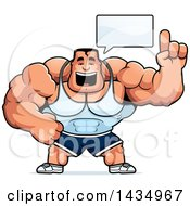 Clipart Of A Cartoon Buff Beefcake Muscular Bodybuilder Talking Royalty Free Vector Illustration by Cory Thoman