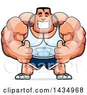 Clipart Of A Cartoon Buff Beefcake Muscular Bodybuilder Giving Two Thumbs Up Royalty Free Vector Illustration by Cory Thoman