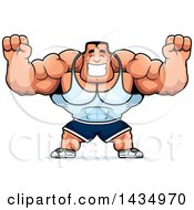 Clipart Of A Cartoon Buff Beefcake Muscular Bodybuilder Cheering Royalty Free Vector Illustration by Cory Thoman
