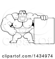 Clipart Of A Cartoon Black And White Lineart Buff Muscular Beefcake Bodybuilder Competitor With A Blank Sign Royalty Free Vector Illustration