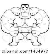 Clipart Of A Cartoon Black And White Lineart Buff Muscular Beefcake Bodybuilder Competitor Giving Two Thumbs Up Royalty Free Vector Illustration