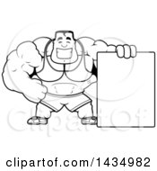 Cartoon Black And White Lineart Buff Beefcake Muscular Bodybuilder With A Blank Sign