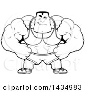 Cartoon Black And White Lineart Smug Buff Beefcake Muscular Bodybuilder
