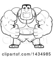 Cartoon Black And White Lineart Buff Beefcake Muscular Bodybuilder Giving Two Thumbs Up