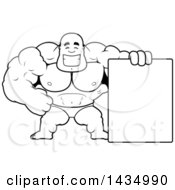 Cartoon Black And White Lineart Buff Muscular Black Bodybuilder In A Posing Trunk With A Blank Sign