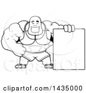 Clipart Of A Cartoon Black And White Lineart Buff Muscular Black Bodybuilder With A Blank Sign Royalty Free Vector Illustration