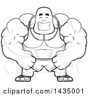 Clipart Of A Cartoon Black And White Lineart Happy Buff Muscular Black Bodybuilder Royalty Free Vector Illustration